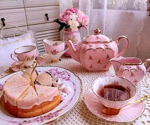 tea, pink, and cake image