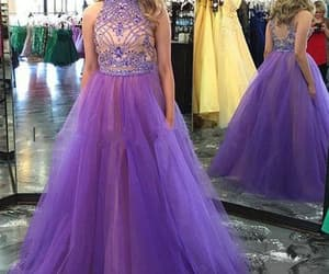 purple prom dresses, cheap prom dresses, and high neck prom dresses image