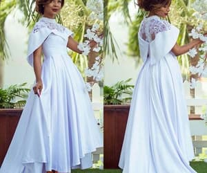 prom gown, satin prom dress, and high neck prom dress image