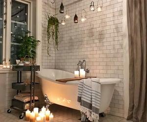 bathroom, bathtub, and candles image