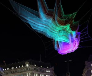 colorful spider, suspends sculpture, and like spider net image