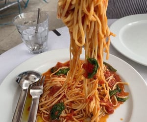 food, spaghetti, and pasta image