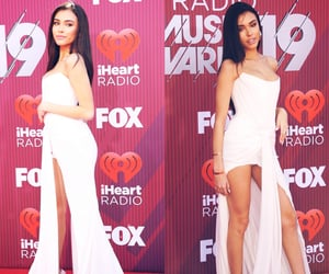 red carpet, white dress, and madison beer image