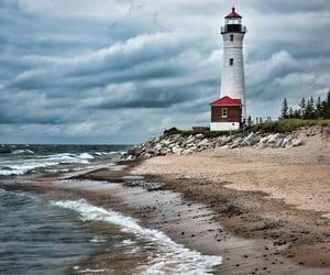 beach, lighthouse, and ocean image