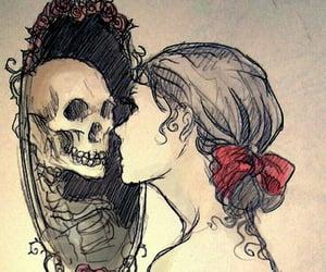 mirror, skull, and art image