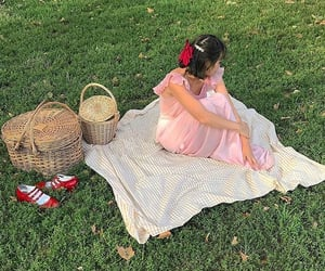 picnic, girl, and meadow image