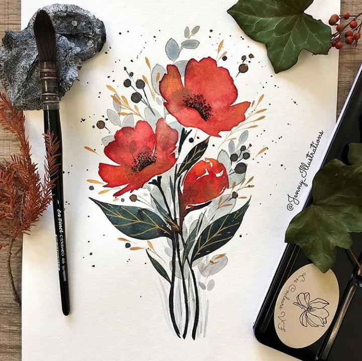 arte, flores, and pintura image