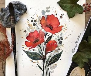 arte, pincel, and flores image