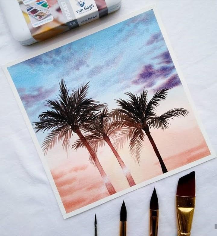 arte, atardecer, and pintura image