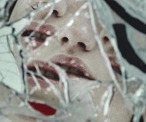 broken, mirror, and face image