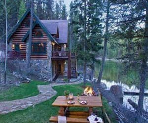 architecture, cabin, and mountains image