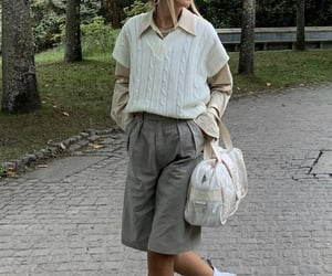 everyday look, beige blouse, and white bag purse image