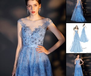 formal wear, shiny party dress, and embroidery lace image
