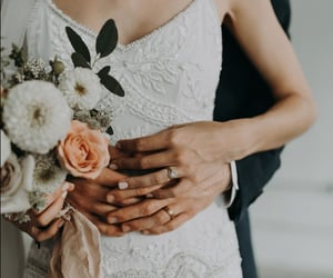 couples, wedding, and love image