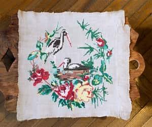 bird nest, linen, and birds love image