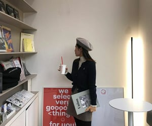 beret, books, and outfit image