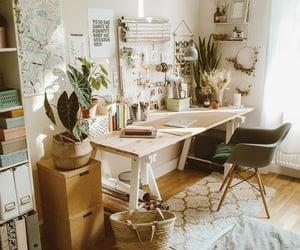 desk, inspiration, and plants image