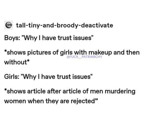 equality, trust issues, and feminism image