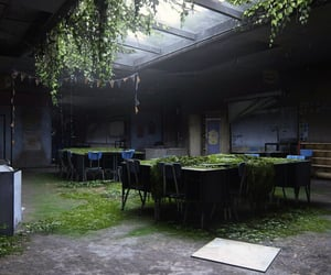 abandoned, classroom, and dystopian image