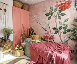 background, bedroom, and pink image