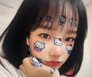 yuri, izone, and hello kitty filter image
