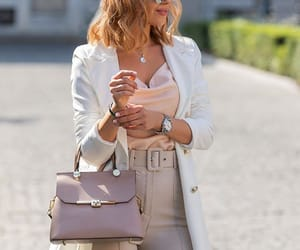 beige, long bob hair, and outfit image