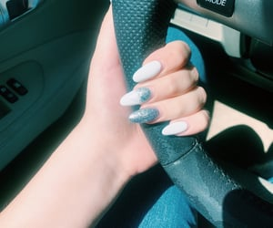glitter, long nails, and trendy image