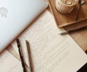 study, apple, and coffee image