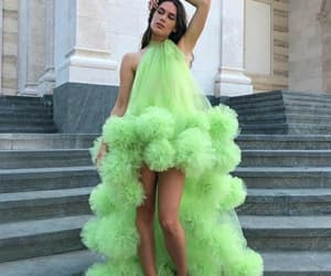 prom gown, floral prom dresses, and green prom dresses image