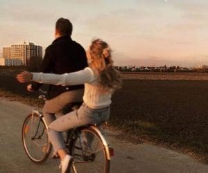 couple, love, and bike image