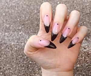 black nails, nail polish, and nails image
