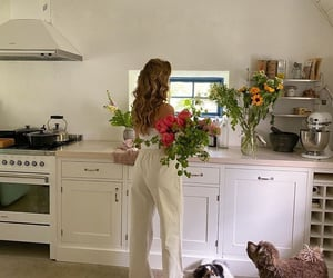flowers, girl, and kitchen image