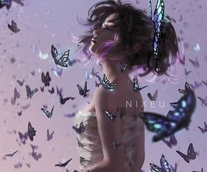 anime, kimetsu-no-yaiba, and butterflies image