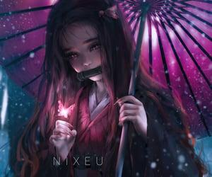 anime, snow, and kimetsu-no-yaiba image