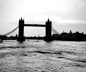 black and white, london, and tower bridge image