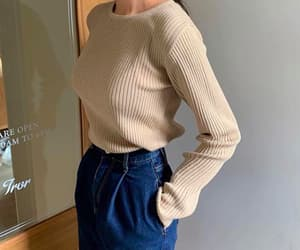 dark blue, sweater, and spring outfit image