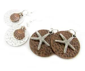 hippie earrings, boho earrings, and mixed metal earrings image
