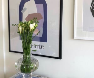 blue, flowers, and poster image