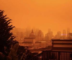 destruction, orange, and orange sky image