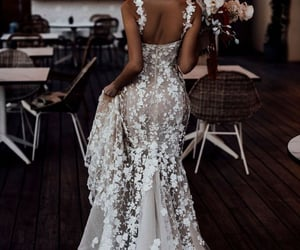 dress, lace, and wedding image