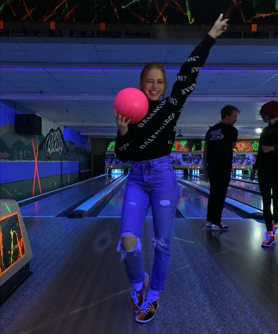 cute girl, bowling, and happy girl image