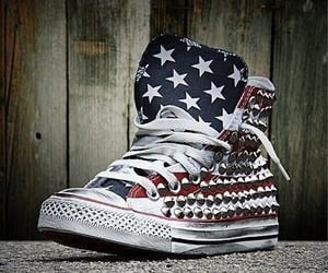 converse, high tops, and red white and blue image