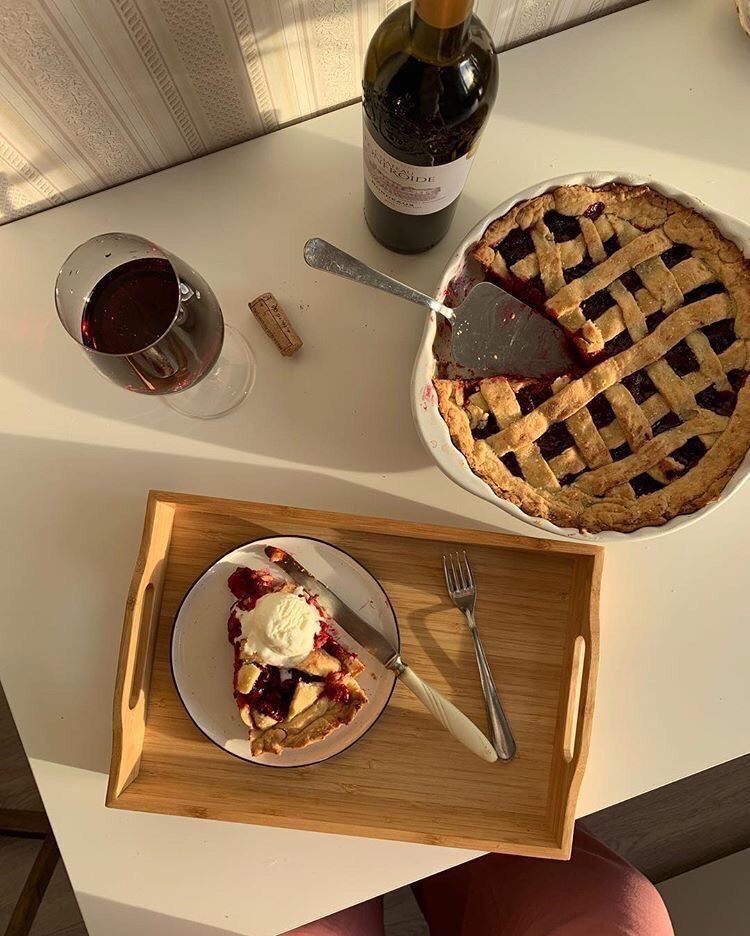 food, pie, and wine image
