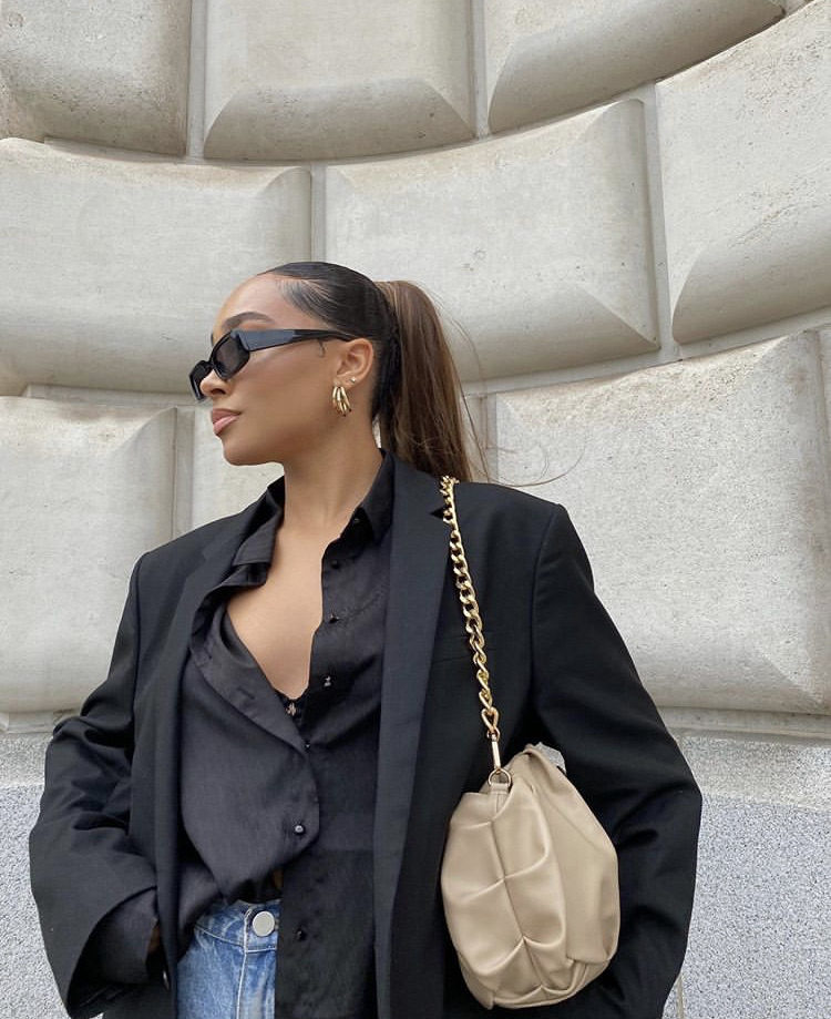 black blazer, black blouse, and fashionista fashionable image