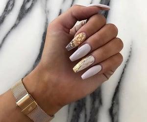 nails, gold, and makeup image