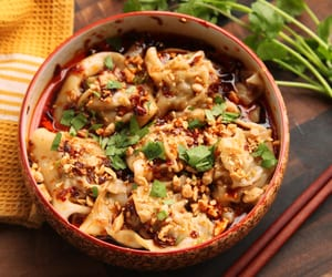 dumpling, asian food, and spicy shrimp wonton image