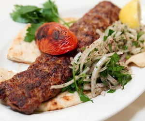 kebab, salad, and turkish food image