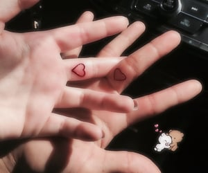 tattoo, couple, and heart image