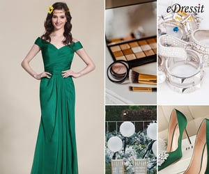 dark green, formal gown, and bridesmaid dress image