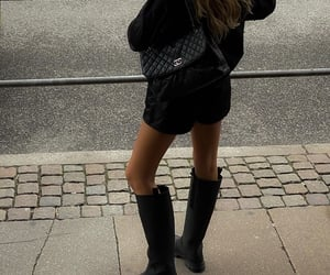 black, chanel bag, and high boots image